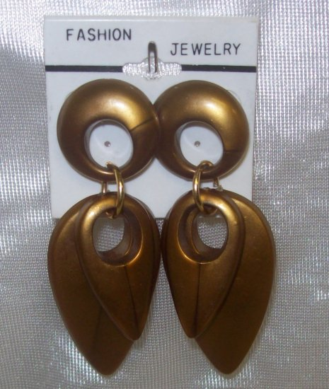 "Fashion, Costume Jewelry, a pair of Gold 3"" dangling earrings"