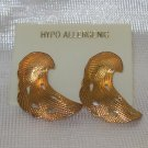 Costume Jewelry, a pair of  Gold leaf shaped pierced, earrings hypo allegenic