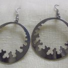 "Fashion, Costume Jewelry, Pr. silver 2"" wide and 3"" dangling earrings"