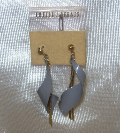 """Fashion, Costume Jewelry, a pair of  grey swill with 3"""" gold strand dangling"""
