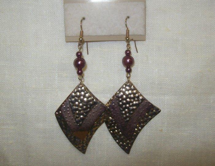 "Jewelry,  Gold tone tin and bronze earrings 3"" Dangle"