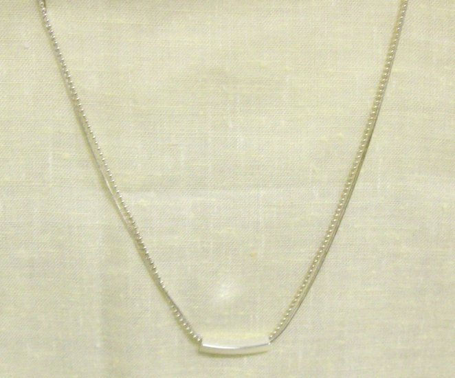 """16"""" double stranded silver necklace w/ bar charm"""