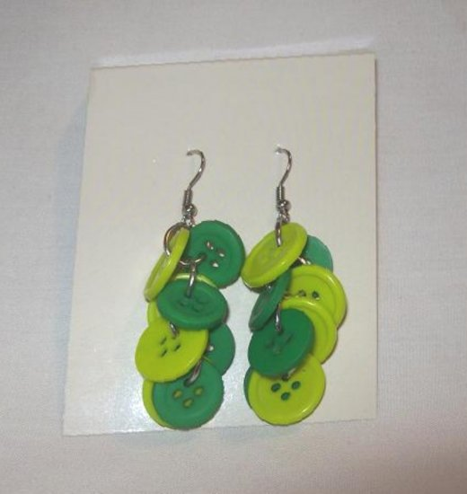 """Pr. of  Hand crafted Green and Lime  3"""" dangling Button Earrings"""