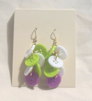 "Pr. of  Hand crafted lime green, purple and white  3"" dangling Button Earrings"