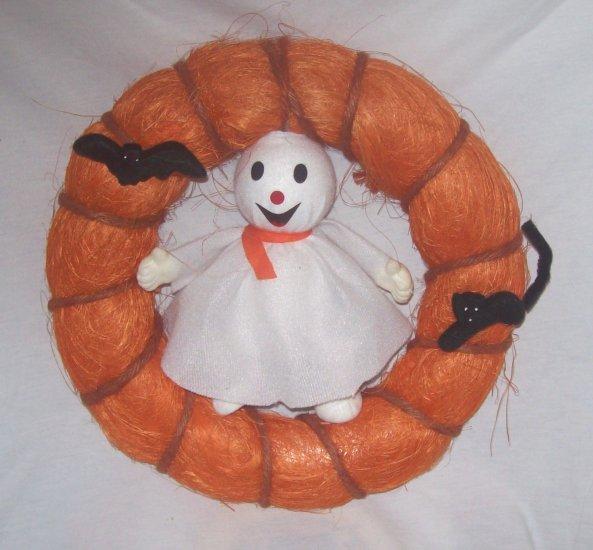 Halloween -Orange Door Wreath w/ ghost