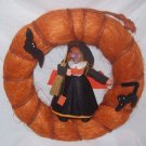 Halloween Decorations,  Orange Door Wreath with cute  witch