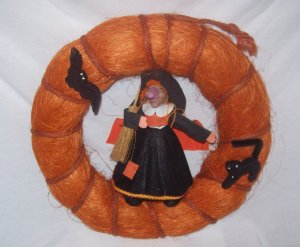 Halloween Decorations,  Orange Door Wreath with cute  witch