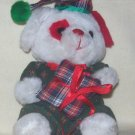 **Stuffed, Plush christmas bear holding a checkered pillow, matching hat by Cloud 9
