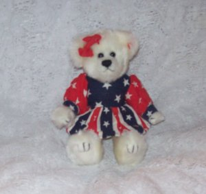 STUFFED ANIMALS - Plush Toy, Ty 2000 Patriotic bear wearing red, white and blue dress