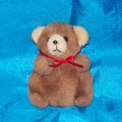 Stuffed Animals, Plush Toys,  Bears -Chubby Brown Bear, red bow, 5 x4 inches
