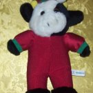 Stuffed Animal, Plush Toy,  Christmas Cow by Play by Play, wearing red corduroy jumpsuit