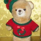 Stuffed Animals, Plush Toys,  Bears- Vintage Christmas bear in red sweater