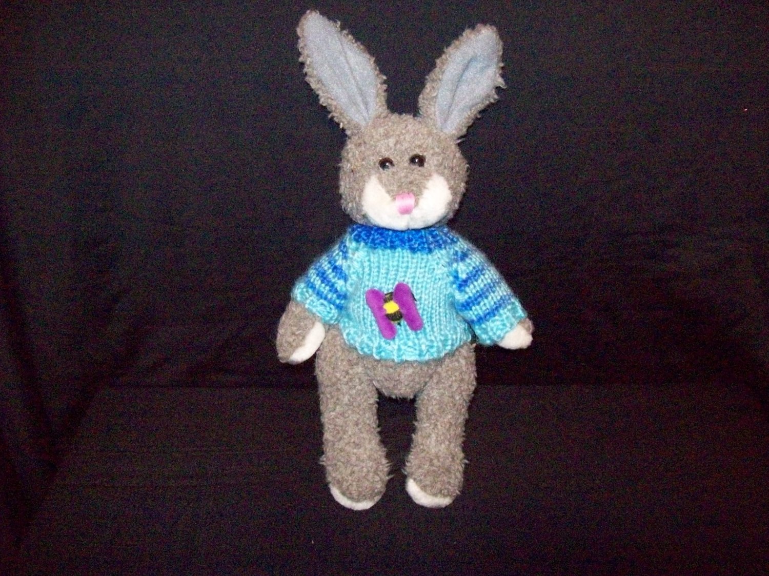 Grey Colored Rabbit With Blue Sweater By