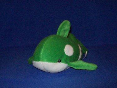 Stuffed Animal, Plush Toy, Green and White Whale plush, bean bag toy