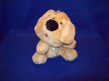 Stuffed Animal, Plush Toy, Beige small dog, small bow in hair