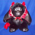 Stuffed Animal, Plush Toy, Gorilla in a devil suit with black and red leather cape.