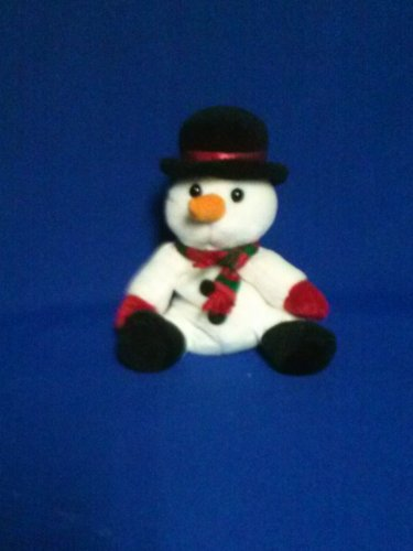 Stuffed Animal, Plush Toy, Snowman with red and green shawl