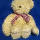 Stuffed Animals, Plush Toys, Bears -  beige bear with a plaid bow tie, fluffy fur , home decor