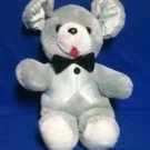 STUFFED ANIMALS, Plush Toy, Grey Mouse, with satin vest and bowtie