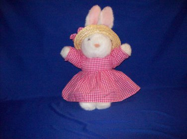 Stuffed Animal, Plush Toy, country rabbit with red gingham dress, by oriental trading