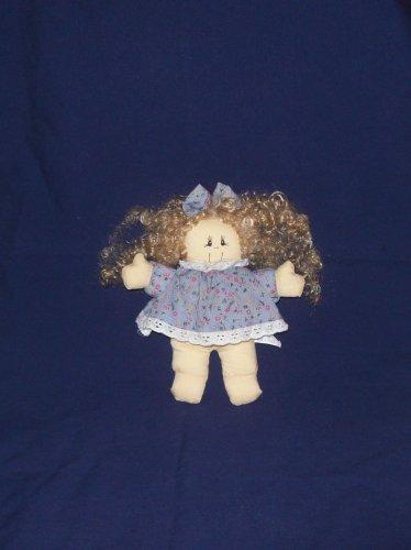 country flowered dress rag doll, head, soft cloth body, blonde curly hair
