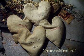 Primitive..Early style....buckwheat filled Hearts~Handmade
