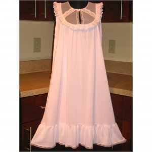 VINTAGE PINK NYLON BABYDOLL LACE NIGHTGOWN GOWN LINGERIE CHIFFON RUFFLE KEYHOLE LARGE/XL