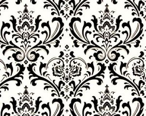 """Damask Table Square Traditions for centerpiece 18""""x 18"""" small runner black white"""