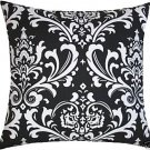 Damask Pillow Cover- Custom White on Black Traditions Fabric 16""