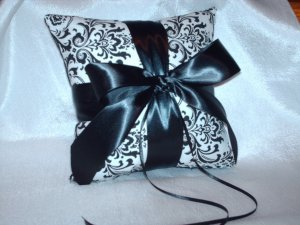 Damask Ringbearer Pillow Black and White Madison Ring Pillow with Accent Color Ribbon