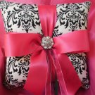 Damask Ring Bearer Pillow Black white Madison with Fuchsia Hot PInk accents Other Colors AVailable