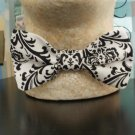 Damask Bowtie Men or Boys Bow Tie Bridal Black and white or Black Ivory