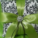Damask Ring Bearer Pillow Madison Black white Lime Green Accent Ribbon Wedding Ring