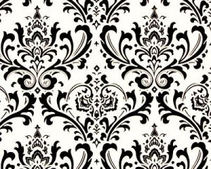 """TABLE SQUARE Damask Black on White Traditions 20"""""""