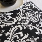 TABLE SQUARE Damask White Print on Black Traditions Osborne 20""