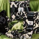 WEDDING SET- Damask Black  Ivory Pillow, Garter Set, Basket, Guest book set ,Waverly Onyx