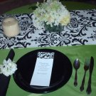 "Damask Table Runner Black and White 72"" long Traditions"
