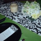 Damask Wedding Traditions Table Runner Black White 48""