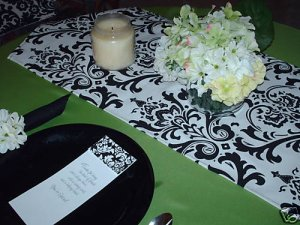 "Damask Wedding Traditions Table Runner Black White 48"""