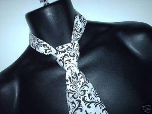 Damask Boys Necktie Madison Black White Tie Ringbearer