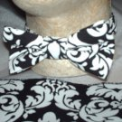 Damask Bowtie ONLY Men Black White Bow Tie Wedding