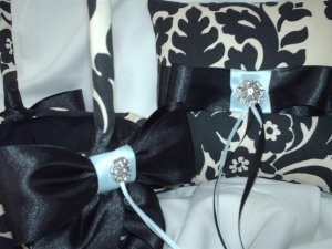 DAMASK PILLOW and Basket Black Ivory Cream Waverly Essence onyx WITH Your choice of ribbon color