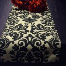 "damask table runner 48"" weddings bridal black cream 4 feet Waverly onyx"