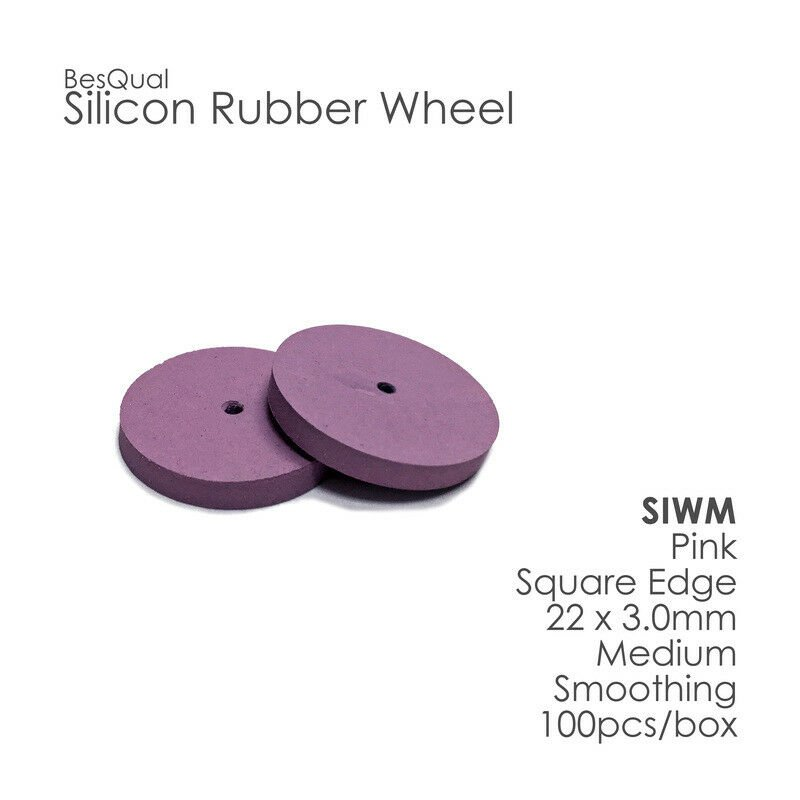 Silicone Rubber Polisher Wheel Pink-Medium 100-Pieces