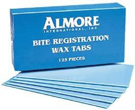 "Almore 3"" x 6"" bite registration wax sheets dead soft when heated, single box"