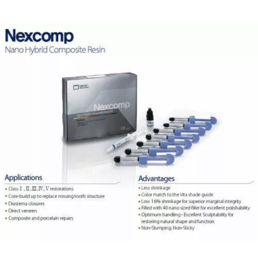 Dental Nexcomp Nano Hybrid Composite Resin light cure cem KIT