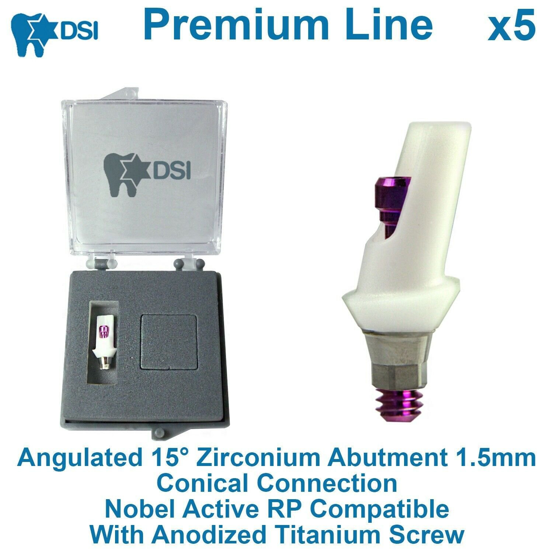 5 DSI Dental Implant Angulated 15 Zirconium Abutment Conical Nobel Active RP 1.5