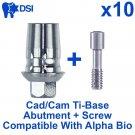 10x Dental Implant CAD/CAM Ti-Base Abutment Int-Hex Alpha Bio Sirona Compatible