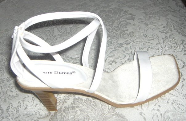 Women White Shoes Sandals Heels Wedding Prom Size 6.5