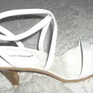 Women White Shoes Sandals Heels Wedding Prom Size 7.5